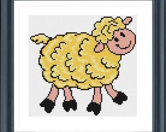 Sheep Cross Stitch Pattern, Funny Cross Stitch, Cute Cross Stitch Pattern, Modern Cross Stitch, Easy Cross Stitch, Counted Cross Stitch, PDF