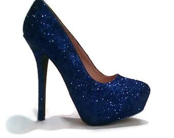 Glitter Heels / Royal Blue Glitter Heels / Wedding Shoes / Sparkle Heels / Sparkly Shoes / Wedding Heels / Women's Pumps / Women's Shoes