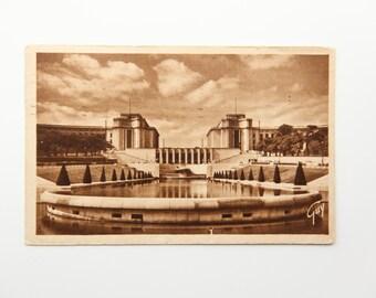 Antique Postcard Paris France Palais de Chaillot Photo B&W Print- Original 1948