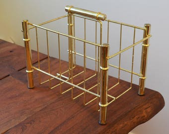Vintage Brass Magazine Rack, Mid Century Modern Home Decor, gold circa 1960s-70s