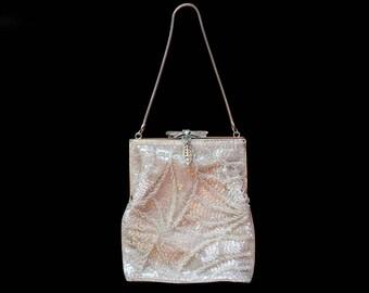 Vintage Beaded Purse, Dragonfly Clasp, Silver Flapper Purse, Art Nouveau Purse, Art Deco Purse, Wedding Purse, Hollywood Regency Purse