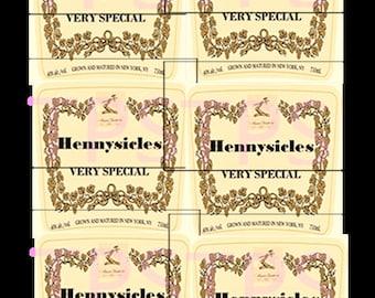 pre-cut HENNYSICLE sticker LABELS