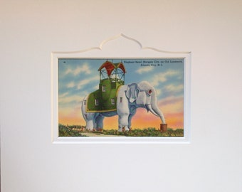 Lucy the Elephant, Genuine Vintage Postcard, Margate NJ,   Matted for framing, Retro New Jersey Wall Art