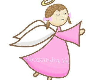 Girl Angel Clipart Hand Drawn Instant Download Commercial Use Cute Girl Angels First Communion Baptism Clipart