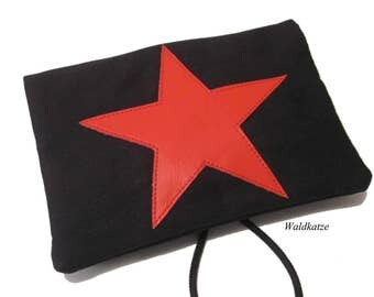 Tobacco bag / pouch / Leno bag * red star *.