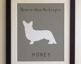 FRAMED Personalised Dog Quote Print, Corgi - 20 Colours options, Black/White Frame,  Birthday, New Home, Christmas, Fab Picture Gift