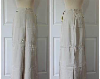 SALE Vtg Tencel Khaki Skirt Long Size 30 Large New Old Stock USA Made (R3-18)