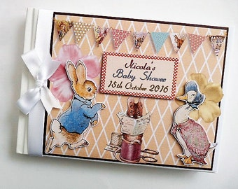 Peter Rabbit Birthday Guest Book Personalised Memory Book '1st Birthday' - any design