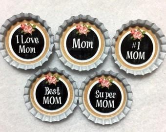 Set Of 5 Mom Mother's Day Bottle Cap Magnets