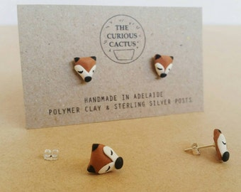 Woodland Fox Studs - Polymer Clay Sterling Silver Earrings
