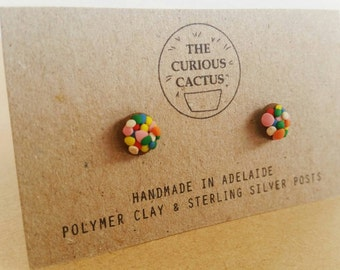 Chocolate Freckle Studs - Kawaii Lolly Food Polymer Clay Sterling Silver Earrings