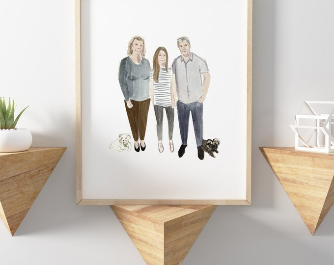 Custom illustration - FAMILY - realistic/detailed illustration in watercolour
