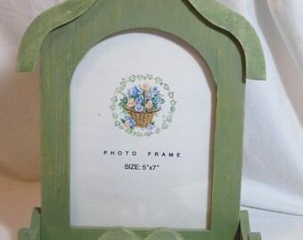 "Vintage mission design photo frame,9 3/4"" x 7 3/4"", 5"" x 7"" photo frame, area for jewlery. keys or a floral arrangement, All Sales Are Final"