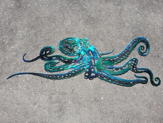 Octopus Metal Wall Art, Aluminum Octopus, Ocean Art, Beach House Decor, The Kraken, Sea Life, Metal Wall Art, Christmas Gift