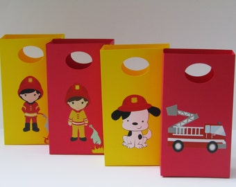 8 Fire Truck Party/Fire Fighter Favor Bag - Fire Truck Candy/Treat Bag - Fire Fighter Boys/Girls Birthday Party - Fire Truck Goody/Gift Bag