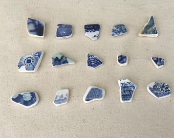 Sea Pottery - Beach Pottery - Sea Pottery Lot of 15 - Blue and White Sea Pottery - Jewelry Supply - Craft Supply - Repurpose  // LN42