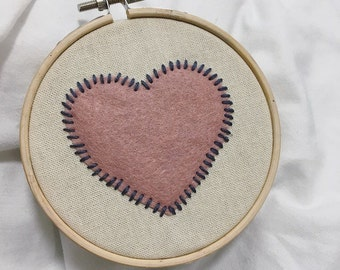 Love Heart Felt Embroidery Hoop Art