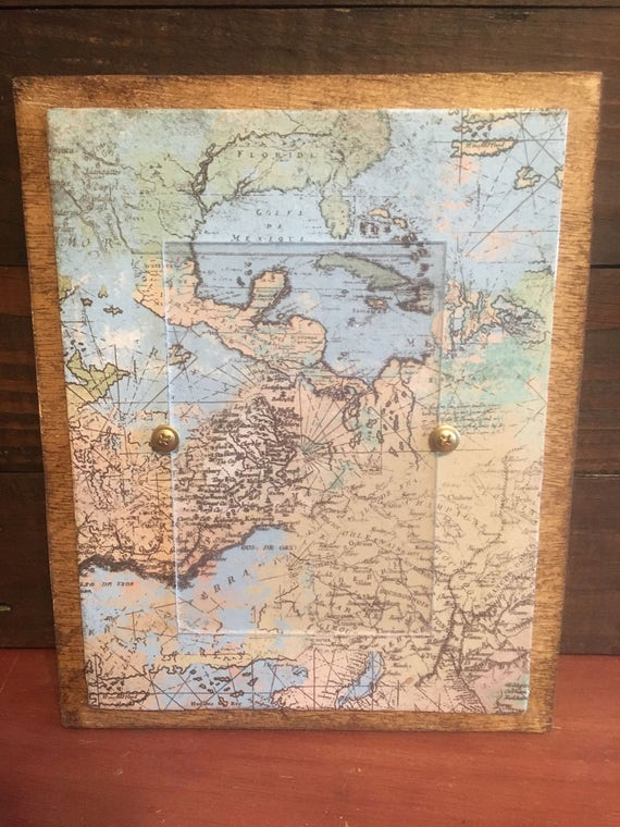 world map wooden picture frame from thepeppermintpaisley on etsy studio. Black Bedroom Furniture Sets. Home Design Ideas