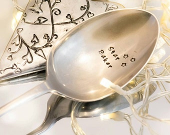 Star Baker - Great British Bake Off - GBBO - Hand Stamped Engraved Spoon - Vintage Serving Spoon