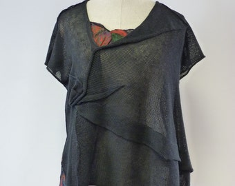 Artsy black linen top with amazing felted decoration, L size.