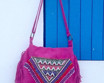 Fuchsia leather bag