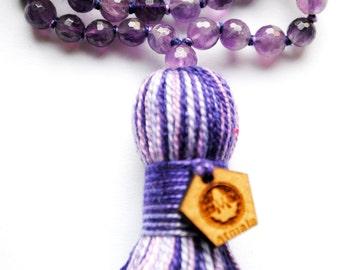 Amethyst Prayer Beads, Yoga, 108 Mala Bead, Healing Mala Beads, Buddhist Rosary, Mala Necklace, Meditation, 108 Mala Beads, Faceted Amethyst