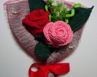 crochet rose, crochet rose bouquet , rose flower arrangement ,wedding bouquet flowers