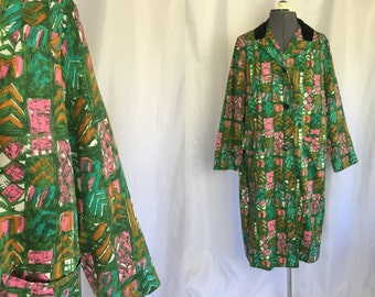 Medium/large ** 1960s LIGHTWEIGHT green abstract print coat ** vintage sixties green and pink jacket