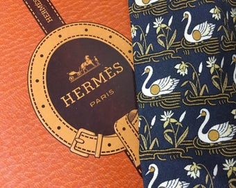 Hermes of Paris: Silk Tie - brand new old stock with Swans Patern 7285 MA on BLack