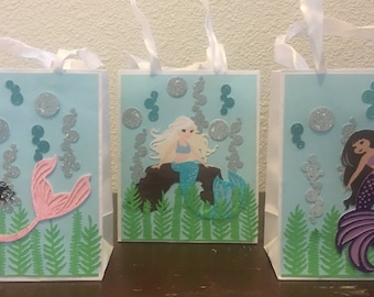 6 enchanted mermaid small favor bags 5.25 inches x 4.25 incges wide x 2.5 inches mermaid loot bag