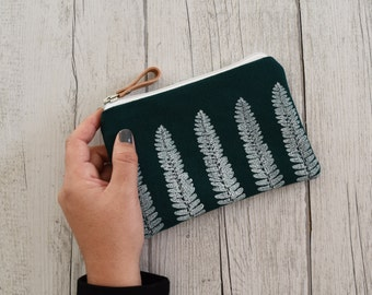 Green woven clutch bag hand printed, white, fern design smartphone available on pre-order