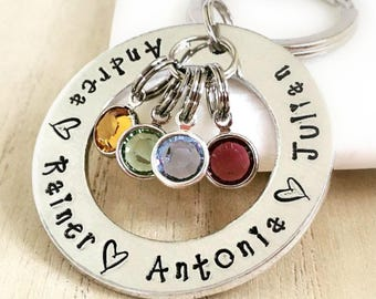 Family Circle Keyring, Birthstones, Personalised Gifts for Mummy, Personalized Keychain, Gifts for Grandma, Mommy Present, Mothers Day, Mama