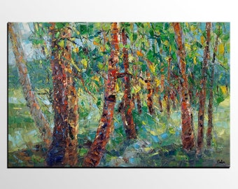 Canvas Art, Forest Tree Wall Art, Canvas Painting, Landscape Painting, Abstract Art, Living Room Art, Abstract Painting, Original Painting