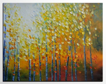Abstract Painting, Abstract Art, Original Art, Canvas Painting, Living Room Wall Art, Large Art, Landscape Painting, Canvas Art, Autumn Tree