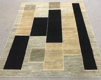 Size-6.4x5.2ft Afghan ghabba rug hand knotted rug hand spun wool rug