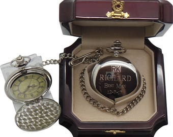 Custom Engraving Wedding Watches Silver Pocket Watch Luxury Wooden Case Groomsmen Gifts Engraved Father of the Bride Best Man Usher Groom