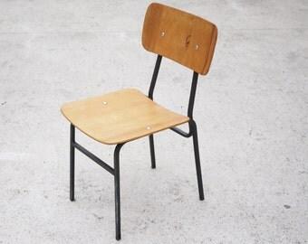 VINTAGE SCHOOL CHAIR Industrial Metal Legs Wax Seat 1960 Mid Century Minimalist Chair Veneer Nostalgia Industrial