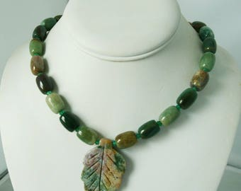 Unique India Agate Pendant Necklace
