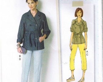 Raglan Sleeve Loose Fitting Double Breasted Trench Coat Jacket Tapered Pants Butterick 6331 Lisette Sewing Pattern Size 6 8 10 12 14