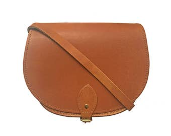 Leather Saddle Bag In Vintage Tan - Handmade In Uk - Brown Saddle Bag - Girlfriend Gift - Tan Satchel - Tan Leather Bag