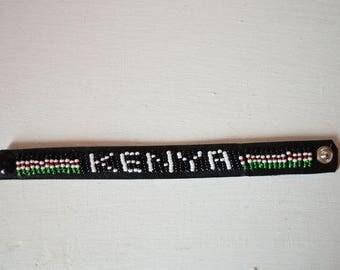 Kenya leather beaded flag bracelet