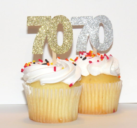 70th birthday cupcake toppers 70 anniversary party for 70 birthday decoration ideas