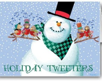 Cute Birds and Snowman Holiday Card - 12 Cards/13 Envelopes - 20028