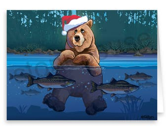 Bear in Santa Hat Christmas Card - 18 Cards and Envelopes