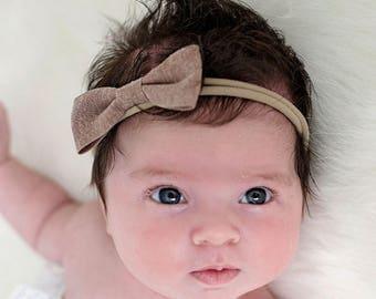 Baby Headband, Small Bow, Nylon Headband, Baby Bows, Nude colored Hair bow Headband, Newborn Headband