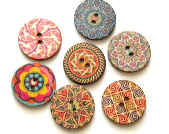 10 Painted Wooden Floral Mandala Buttons