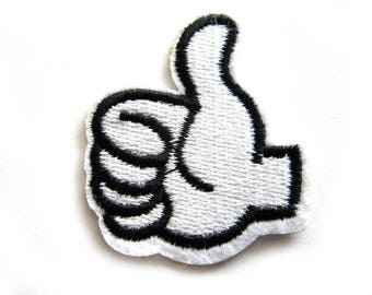 Thumbs Up Embroidered Patch Appliqué