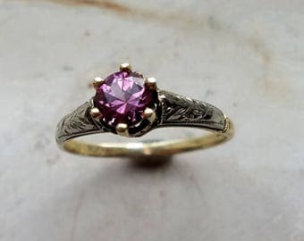 Vintage purple spinel 10k yellow and white gold Art Deco six prong ring.