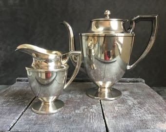VINTAGE Silver Tea Set - Coffee Tea Pot + Creamer - Sheffield Co 45x Silver Plate - Vase Wedding Decor Watering Can - Instant Collection