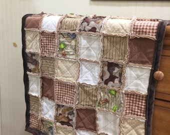 Baby Rag Crib Quilt / Brown Baby Quilt / Brown Baby Blanket / Baby  Bedding Set / Baby Crib Quilt Set